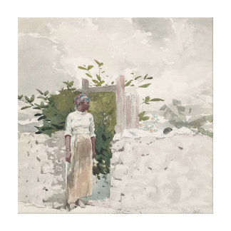 Woman Standing by a Gate, Bahamas Canvas Print