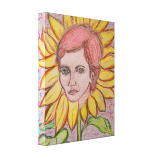 Woman Sunflower Stretched Canvas Print