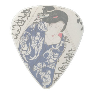 Woman surrounded by Calligraphy (colour woodblock Acetal Guitar Pick