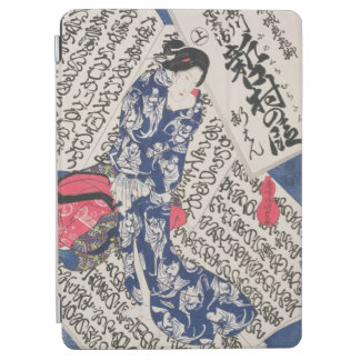Woman surrounded by Calligraphy (colour woodblock iPad Air Cover