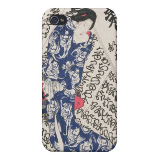 Woman surrounded by Calligraphy (colour woodblock iPhone 4 Covers