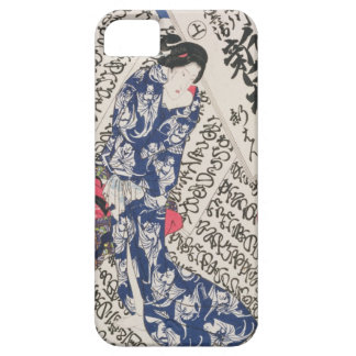 Woman surrounded by Calligraphy (colour woodblock iPhone 5 Cases