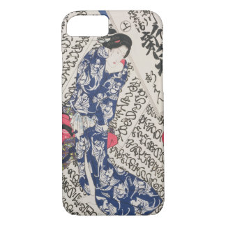Woman surrounded by Calligraphy (colour woodblock iPhone 8/7 Case