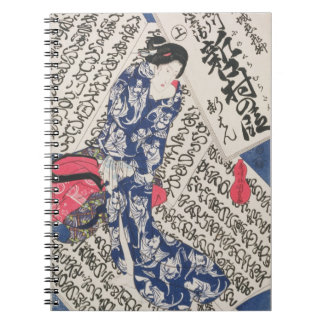 Woman surrounded by Calligraphy (colour woodblock Notebook