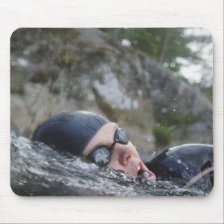 Woman swimming, close-up mouse mat