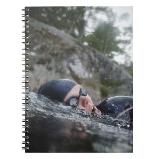 Woman swimming, close-up notebook
