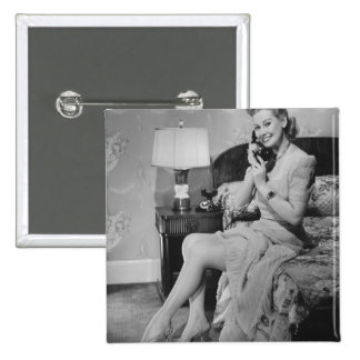 Woman Talking on Phone 15 Cm Square Badge