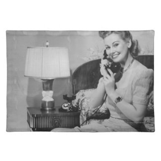 Woman Talking on Phone Placemat