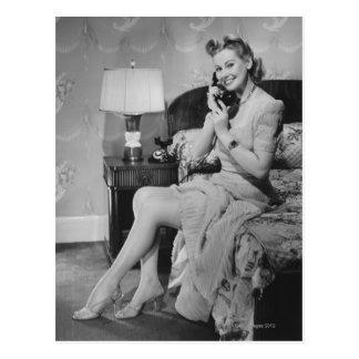 Woman Talking on Phone Postcard