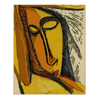 Woman Tellow Face Abstract Poster
