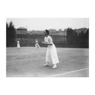 Woman Tennis Player getting ready Photograph Canvas Print