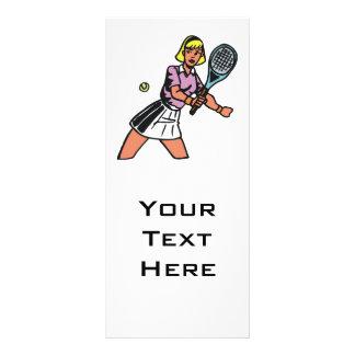 woman tennis player graphic 10 cm x 23 cm rack card
