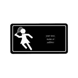 Woman Tennis Player - Tennis Symbol (on Black) Address Label