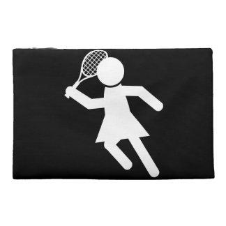 Woman Tennis Player - Tennis Symbol (on Black) Travel Accessory Bag