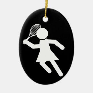 Woman Tennis Player - Tennis Symbol (on Black) Ceramic Oval Decoration