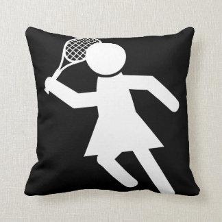 Woman Tennis Player - Tennis Symbol (on Black) Cushion