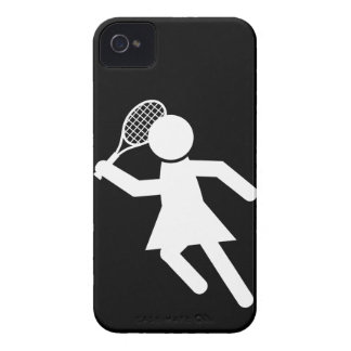 Woman Tennis Player - Tennis Symbol (on Black) iPhone 4 Covers