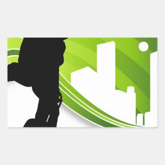 Woman Traveler Airport Silhouette Rectangular Sticker