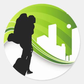 Woman Traveler Airport Silhouette Round Sticker
