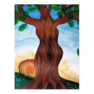 Woman tree postcard