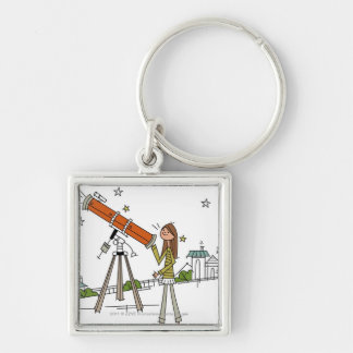 Woman using an astronomy telescope key ring