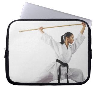Woman using bow staff laptop sleeve