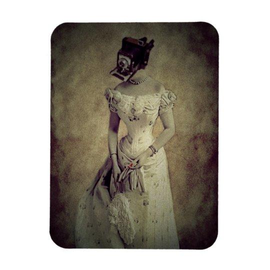 Woman Vintage Camera Art Rectangular Photo Magnet