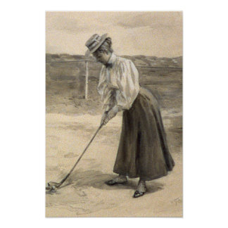 Woman Vintage Golf Fashion, 1890s Poster