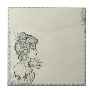 Woman vintage picture tile