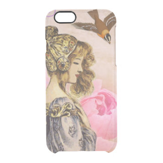 Woman vintage pink rose clear iPhone 6/6S case