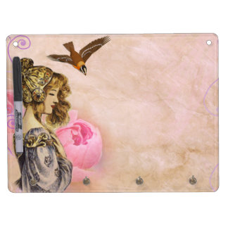 Woman vintage pink rose picture dry erase board with key ring holder