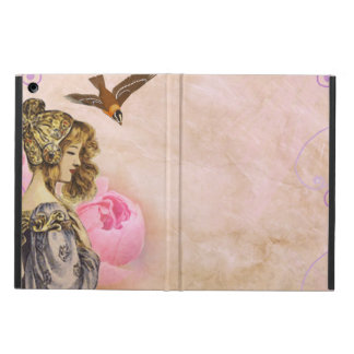 Woman vintage pink rose picture iPad air case