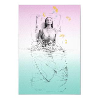 Woman waking up water surreal art photo print