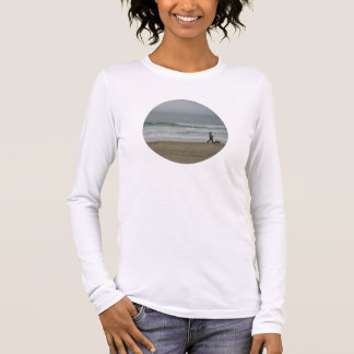 Woman Walking Dog Along Pismo Beach, CA Long Sleeve T-Shirt
