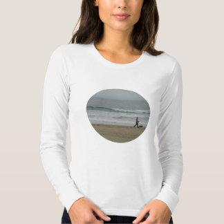 Woman Walking Dog Along Pismo Beach, CA T Shirt