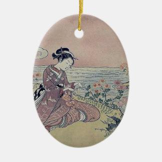 Woman Water Flowers Japan Christmas Ornament