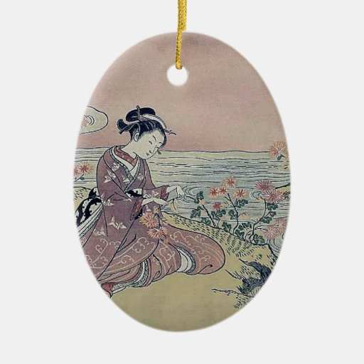 Woman Water Flowers Japan Christmas Ornament