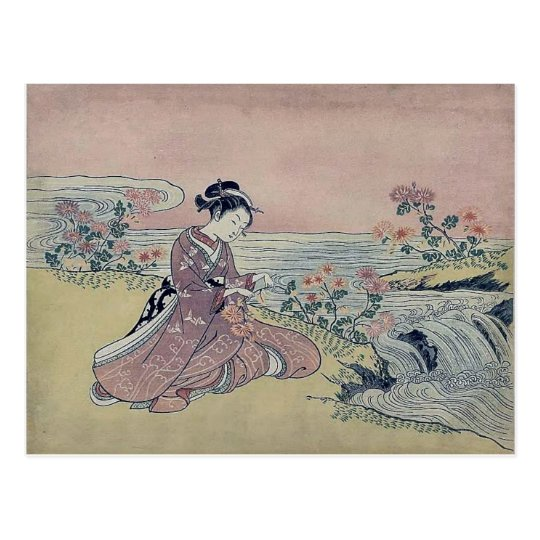 Woman Water Flowers Japan Postcard