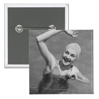 Woman Waving 15 Cm Square Badge