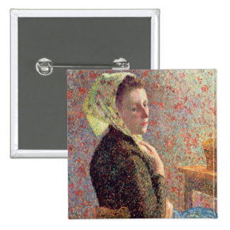 Woman wearing a green headscarf, 1893 15 cm square badge