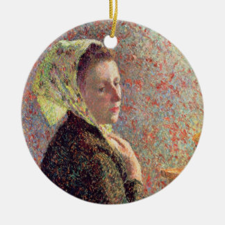 Woman wearing a green headscarf, 1893 christmas ornament