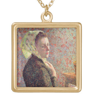 Woman wearing a green headscarf, 1893 gold plated necklace