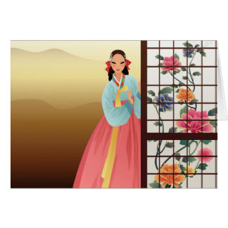 woman wearing a hanbok card