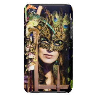 Woman wearing a mask looking out from and iron Case-Mate iPod touch case
