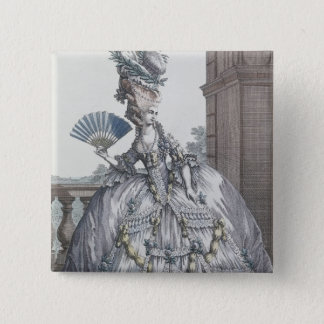 Woman wearing a stylish dress with her hair 15 cm square badge