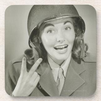 Woman Wearing an Army Helmet Coasters
