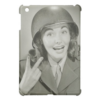 Woman Wearing an Army Helmet Cover For The iPad Mini
