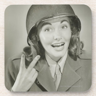 Woman Wearing an Army Helmet Drink Coaster