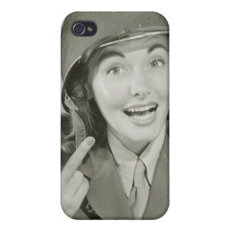 Woman Wearing an Army Helmet iPhone 4 Cover