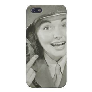 Woman Wearing an Army Helmet iPhone 5 Covers